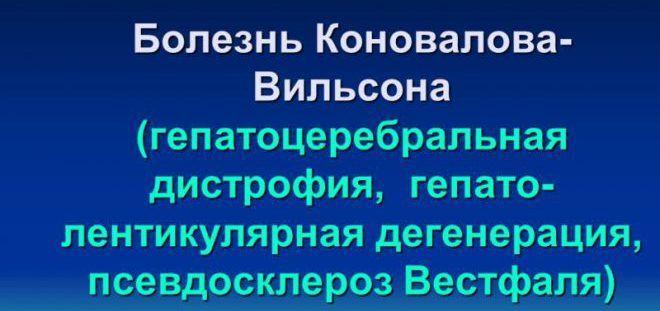Болезнь Коновалова- Вильсона