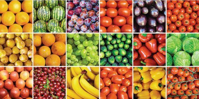 Фрукты, ягоды и зелень