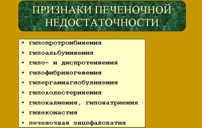 Основные признаки нарушений работы печени